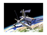Space Station in Orbit around Earth Posters