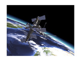 Mir Russian Space Station in Orbit over Earth Art