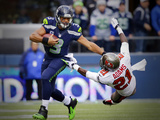 Russell Wilson Photographic Print by Elaine Thompson