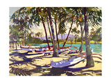 Three Canoes and Palm Shadows Giclee Print by Darrell Hill