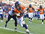 NFL Playoffs 2014: Jan 12, 2014 - Broncos vs Chargers - Wes Welker Fotografisk trykk av Jack Dempsey