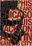 Blues Cities Music Poster