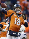NFL Playoffs 2014: Jan 12, 2014 - Broncos vs Chargers - Peyton Manning Photographic Print by Charlie Riedel