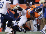 NFL Playoffs 2014: Jan 12, 2014 - Broncos vs Chargers - Knowshon Moreno Photographic Print by Charlie Riedel