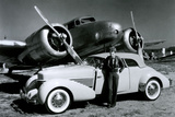 Amelia Earhart with Plane and Car Poster Photo