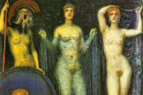 Franz von Stuck The Three Goddesses Athena Hera and Aphrodite Poster Posters