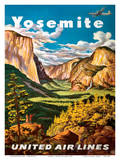 Yosemite - United Air Lines - Yosemite Falls and Yosemite National Park Posters by Joseph Fehér