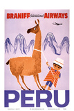 Peru - Braniff International Airways - Native Boy with Llama Poster