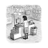 "A woman checks out her groceries at the line indicated ""Not in the Mood fo… - New Yorker Cartoon Premium Giclee Print by Roz Chast"