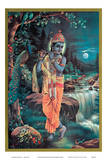 Lord Krishna The Enchanter - God of Love Playing his Flute Prints
