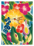 Flower and Hummingbird - Moore-McCormack Lines Affiches