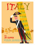 Italy via Jet Clipper - Pan American World Airways Giclee Print by Aaron Fine