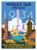 World's Fair Chicago 1934 - Tour the World at the Fair Poster av Weimer Pursell