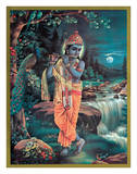 Lord Krishna The Enchanter - God of Love Playing his Flute Lámina giclée