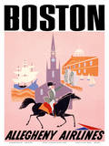 Boston - Allegheny Airlines - Mayflower Ship and Faneuil Hall Posters