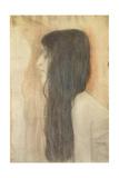 Girl with Long Hair in Profile Giclée-tryk af Gustav Klimt