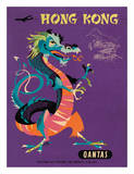 Hong Kong - Qantas Airways - Chinese Treasure Dragon Giclee Print by Harry Rogers