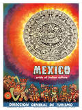 Mexico - Pride of Indian Culture - Aztec Tablet and Warriors Prints