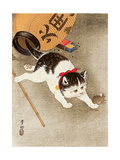 Cat Catching Mouse Giclee Print by Koson Ohara