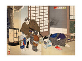 New Selections of Eastern Brocade Pictures - Sakura Sogoro and Family Giclee Print by Yoshitoshi Tsukioka