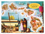 Aloha Airlines Route Map of the Hawaiian Islands Art by Don Allison