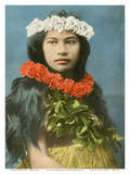 Beautiful Hawaiian Girl with Flower Leis Affiches