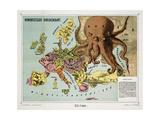 Satirical Map - Humoristische-Oorlogskaart Giclee Print