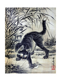 Cat Catching a Flog Giclée-tryk af Kyosai Kawanabe