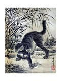 Cat Catching a Flog Gicléedruk van Kyosai Kawanabe