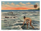 Hawaiian Fisherman (Lawaia) With Net Prints