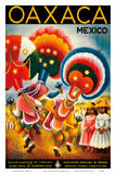 Oaxaca, Mexico - Costumed Native Dancers Poster by Miguel Covarrubias