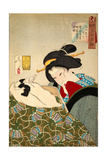 Thirty-Two Daily Scenes: 'Looks Cozy', Mannerisms of a Merchant's Widow Lámina giclée por Yoshitoshi Tsukioka