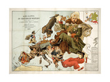 Satirical Map - A Serio-Comic Map of Europe Giclee Print by Fred W Rose
