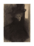 Portrait of a Lady with Cape and Hat Giclee Print by Gustav Klimt