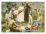 Native Hawaiians Pounding Poi, Honolulu - T.H. Territory of Hawaii Poster