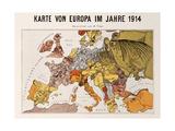 Satirical Map - Karte Von Europa Im Jahre 1914 Giclee Print by W. Trier