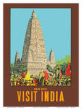 Visit India - Bodh Gaya - Mahabodhi Temple - Bihar, India Prints by W.S Bylityllis