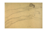 Two Studies of a Reclining Draped Figure Giclee Print by Gustav Klimt