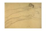 Two Studies of a Reclining Draped Figure Giclee Print by Gustav Klimt