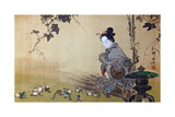 Beauty Watching Frogs at Play Giclee Print by Kyosai Kawanabe