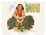 Hawaiian Girl with Flower Leis - Matson Lines Plakater