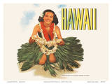 Hawaiian Girl with Flower Leis - Matson Lines Prints