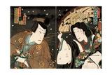 Actors Sawamura Tanosuke as Seigen and Kawarazaki Gonjuro as Matsuwakamaru Giclee Print by Kunichika toyohara