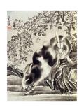 Rabbits Catching a Lizard Giclee Print by Kyosai Kawanabe