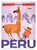 Peru - Braniff International Airways - Native Boy with Llama - Art Print