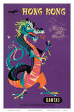 Hong Kong - Qantas Airways - Chinese Treasure Dragon Poster von Harry Rogers