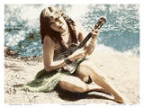 Hawaiian Girl playing Ukulele Posters