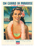 On Guard in Paradise - Hawaiian Hula Girl Prints by  Chadwick
