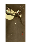 Flowering Plum and Moon Giclee Print by Koson Ohara