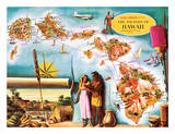 Aloha Airlines Route Map of the Hawaiian Islands Giclée-tryk af Don Allison